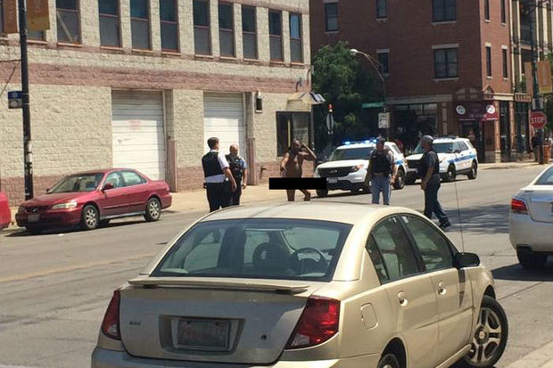 A man runs into the street naked in the 2400 block of West Chicago Avenue.