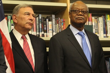 Board of Education President David Vitale (l.) is stepping down to be replaced by Frank Clark.