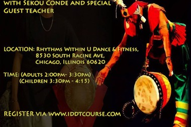 The six-week intensive African drumming class for children and adults is being offered beginning July 18.