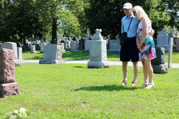 Eleanor and Paudie Fitzmaurice of Ballingarry, Ireland visited the graves of three of their relatives at Mount Olivet Cemetery in Mount Greenwood on Monday. Two of them, Catherine and Hanora Moynihan, were killed during the Eastland disaster.