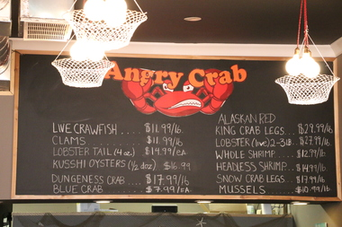 Prices at the Angry Crab.