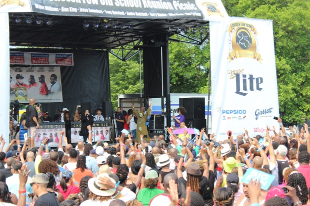 """Evelyn """"Champagne"""" King performs at The Chosen Few DJs house picnic in Jackson Park."""