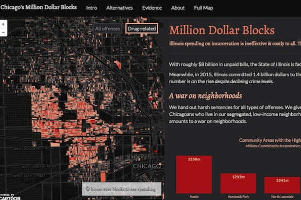 A screenshot of Chicago's Million Dollar Blocks, an interactive map project showing how much was spent to incarcerate people from each block in the city.
