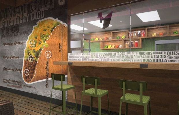 A rendering of new Taco Bell, set to open in mid to late August in Wicker Park.