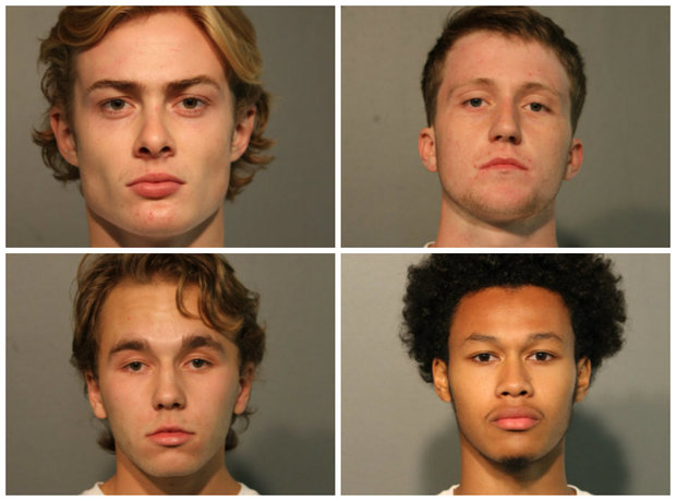 From top left, clockwise: Andrew Patterson, Patrick Moran, Carter Coates and Michael Kralis are charged in the brutal attack and robbery of a 20-year-old man in Wicker Park