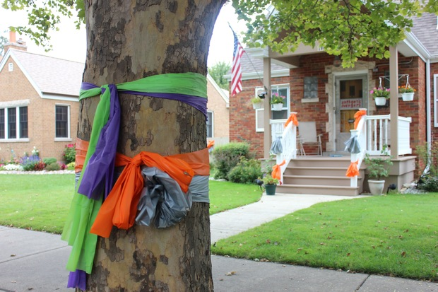 Orange and gray ribbons hang on a tree and home in Mount Greenwood last week. The ribbons are meant to show support for Anthony Pappalas, 5. He was diagnosed with a rare brain tumor on July 24. The purple and green ribbons were hung for the late Emily Beazley.