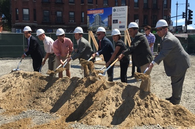 Officials on Wednesday broke ground at 3200 N. Clark St., where an eight-story mixed-use development is expected to open in 2017.