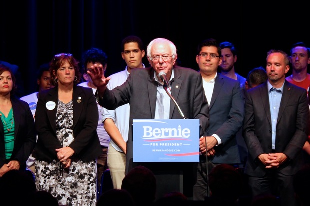 Bernie Sanders was flanked by Chicago's first term progressive aldermen Susan Sadlowski Garza (10) and Carlos Ramirez-Rosa (35th) during his fundraising speech at Park West Monday night.