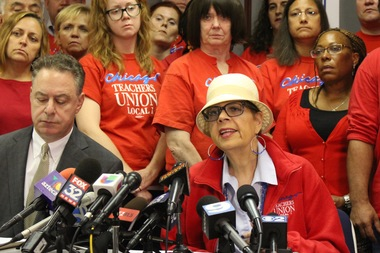 CTU President Karen Lewis has threatened a strike, apparently backed by a vast majority of Chicago teachers.