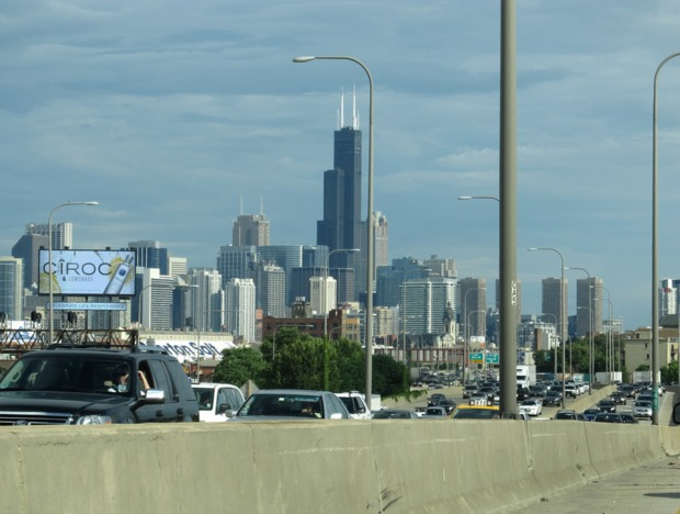 The Willis Tower can be seen from the Dan Ryan Expy.