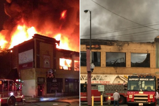 No one was hurt in a fire that destroyed a Lincoln Square bowling alley early Monday morning, according to the Chicago Fire Department.