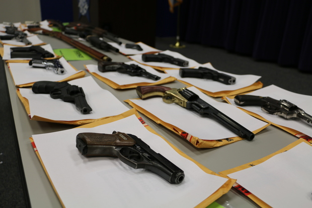 Police showed some of the illegally owned guns they have seized so far in 2015.