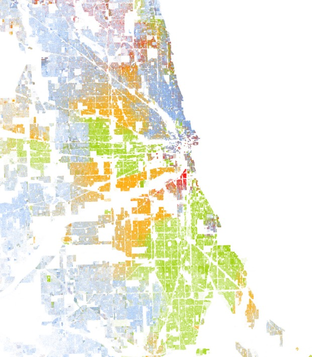 Looking At U S Census Data Concluded That Chicago Is The Most Segregated In The Nation That Report Included This Map Created By Dustin Cable Of The