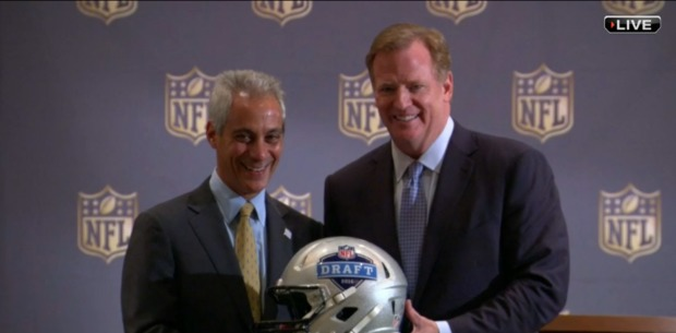 Mayor Rahm Emanuel and NFL Commissioner Roger Goodell announcing Tuesday that the NFL Draft will return to Chicago in 2016.