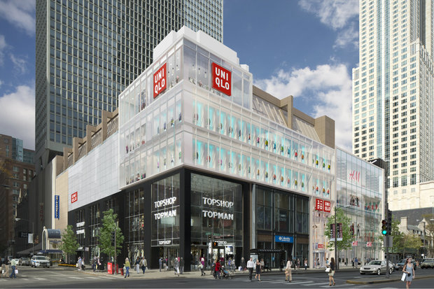 An artist's rendering of the Uniqlo store opening Oct. 23 at 830 N. Michigan Ave.