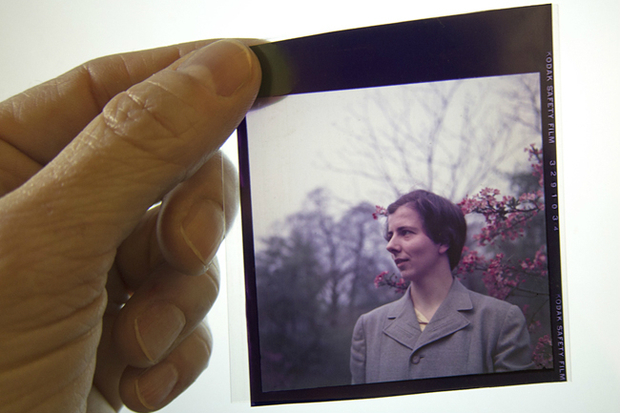 Pamela Bannos holds a transparency of Vivian Maier from the collection of Ron Slattery.