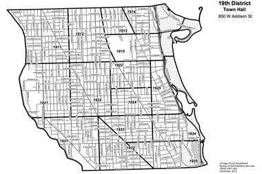 The Town Hall District merged with the former 23rd District in 2012 and now encompasses all of Lakeview and parts of Lincoln Park, Uptown, Lincoln Square and North Center.