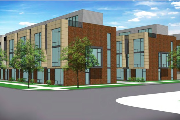 A rendering of the proposed townhome development.