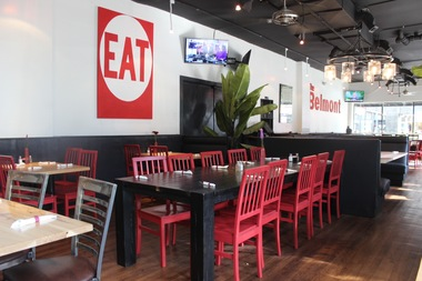 New booths, exposed vents and a revamped color scheme are among changes made at The Belmont Cafe.