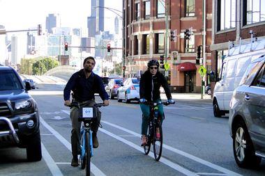 Cyclists on Milwaukee Avenue
