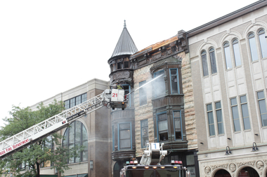 The Adobo Grill fire damaged what was a distinctive building once know as the main entry to the Piper's Alley complex.
