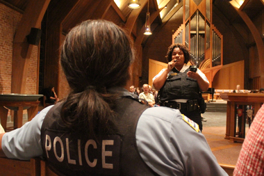 Sgt. Monica Davis said police are still investigating a Saturday shooting at a community meeting Monday at St. Paul and the Redeemer in Kenwood.