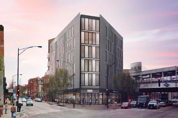 Renderings of a proposed 6-story, 50-unit apartment building at 1920 N. Milwaukee Ave. in Bucktown.