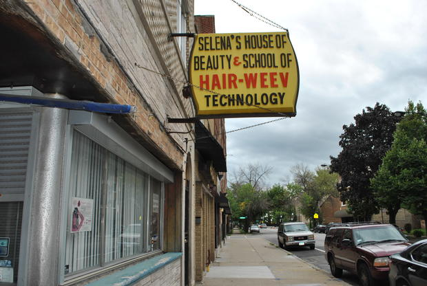 "Selena's House of Beauty and School of Hair Weev Technology, 444 E. 83rd St., run by ""Queen of Hair Weev"" herself Selena Williams, who pioneered Hair Weev in the 1950s."