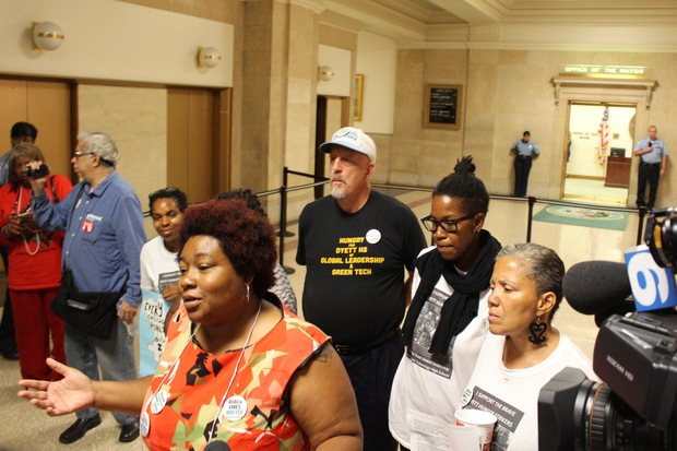 Led by Jeanette Ramann, the Dyett hunger strikers returned to City Hall Thursday on the 18th day of their protest fast — with no resolution in sight.