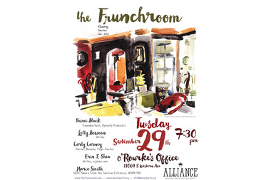 The Frunchroom returns at 7:30 p.m. on Tuesday at O'Rourke's Office in Morgan Park. Five new South Siders will take the stage to share their stories as part of the quarterly reading series.