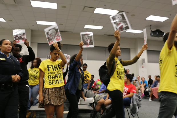 Anti-police-violence activists rallied at a Sept. 17 Police Board hearing.