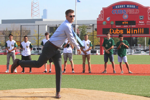 Kerry Wood tosses out the ceremonial first pitch at the grand opening of Kerry Wood Cubs Field.