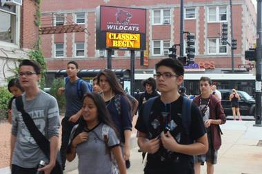 Lake View High School students head to their first day of classes on  Sept. 8.