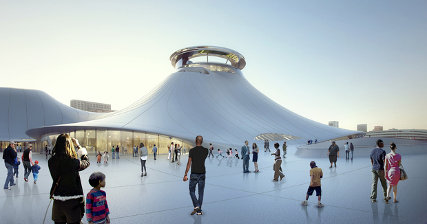 Here's a look at revised renderings for a new, smaller Lucas Museum of Narrative Art by Soldier Field.