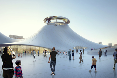 A rendering of the public plaza surrounding the Lucas Museum. The museum was set to go up along the lakefront, but legal battles and criticism led George Lucas to move the planned location to Los Angeles.