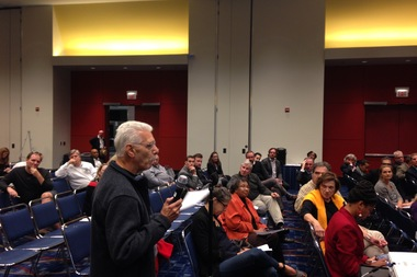 Jim Purgatorio speaks Wednesday at a meeting on the proposed Lucas Museum of Narrative Art. He spoke out against the use of public, lakefront land for the museum.