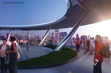 A rendering of the Lucas museum observation deck atop the museum. It would be free and open to the public, museum officials said Tuesday.