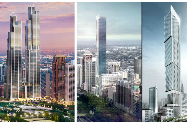Two 76-plus-story skyscrapers Crescent Heights wants to build at Michigan and Roosevelt (l.), and two renderings of an 86-story tower proposed at 1000 S. Michigan (r.).