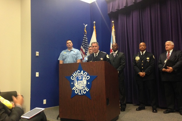 Police Supt. Garry McCarthy addresses recent incidents of gun violence at police headquarters Tuesday.