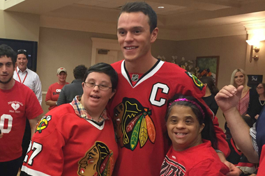 Residents of Misericordia met with Blackhawks captain Jonathan Toews and saw the Stanley Cup during a surprise visit.