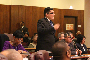 Ald. Carlos Ramirez-Rosa rails against the 2016 city budget and a record increase in property taxes at Wednesday's council meeting.