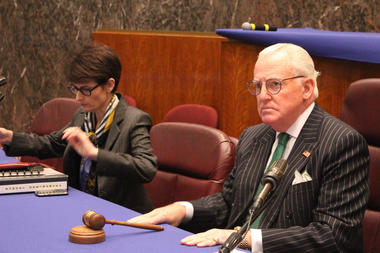 Budget Director Alexandra Holt sits down with Ald. Edward Burke, chairman of the Finance Committee, before Tuesday's hearing.