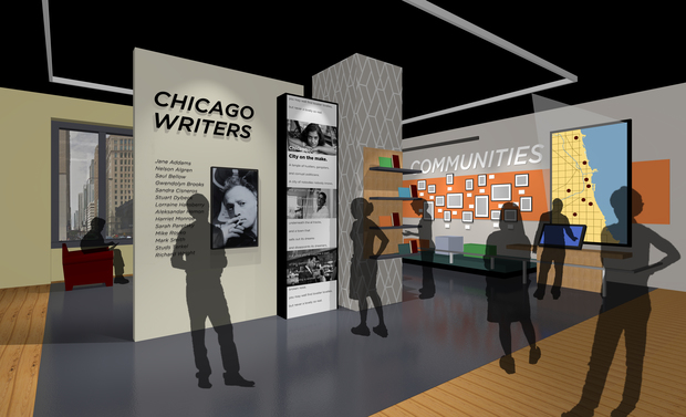 Renderings of the new American Writers Museum, which is opening May 16 at 180 N. Michigan Ave.