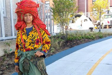 Sculptor Chakaia Booker on The 606 just past Damen Avenue, where her piece,