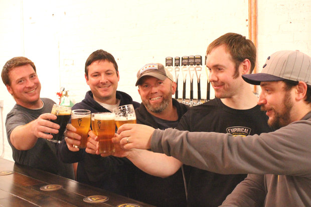 The Empirical team: Brewer Nevin McCown; owner Bill Hurley; taproom manager Steve Milford; brewer Peter Anderson; and head of operations Jim Ruffatto.