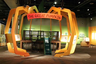 Kids can roam around the Great Pumpkin structure at the exhibit.