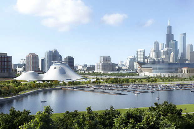 A rendering of the proposed Lucas Museum near Soldier Field.