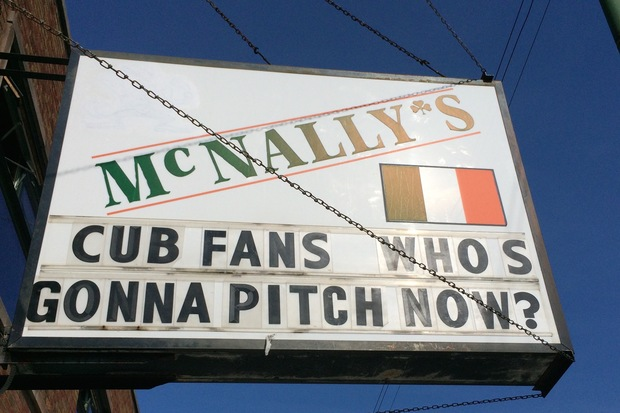 McNally's is a Southwest Side pub with a history of taunting the Chicago Cubs and their fans stayed true to form on Thursday. The bar took a jab at the Cubs' top pitcher with its south-facing marquee.
