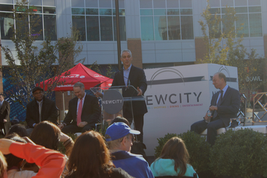 Mayor Rahm Emanuel making remarks at the grand opening of the mega-complex New City on Friday.