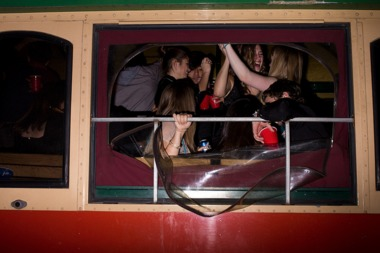People celebrating can be seen in this file photo of a party bus.
